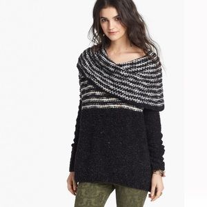 Free People Engineered Stripe Cowl Chunky Sweater